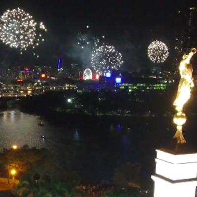 Fireworks Viewed from the Brisbane Temple