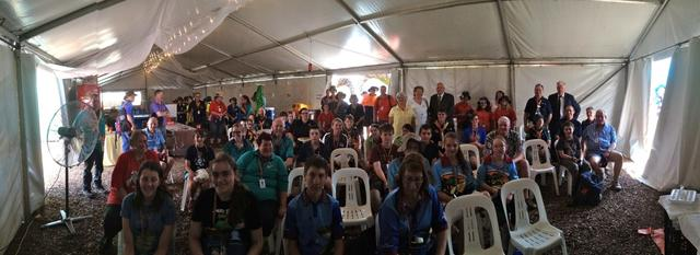 A group photo taken following the Sacrament Meeting at Jamboree. about half of those attending were not members of the Church.