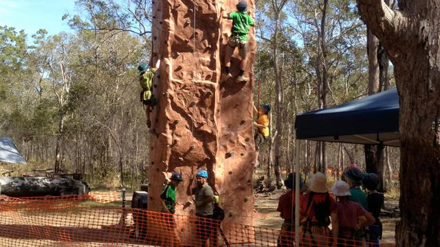 Scouts taking part in the climbing activity at Jamboree.