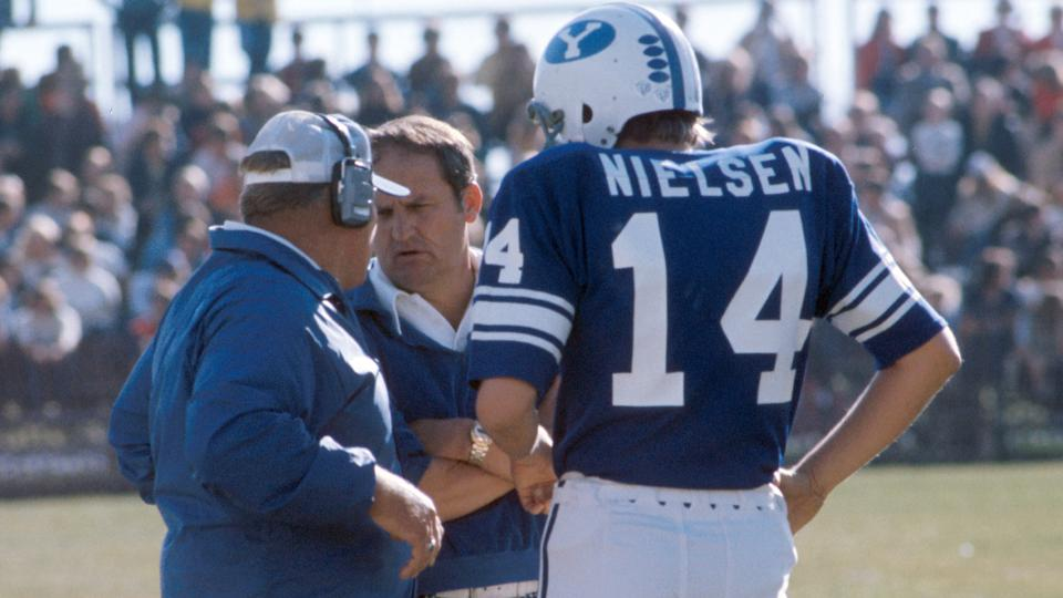 Elder S Gifford Nielsen and Coach LaVell Edwards