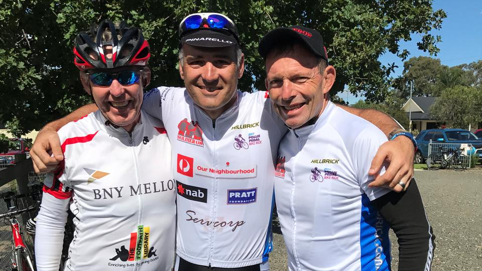 Pollie Pedal riders Former Prime Minister Tony Abbot Leo Gomez John Mackie